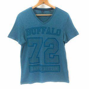 Buffalo David Bitton Mens V-Neck Blue Short Sleeve